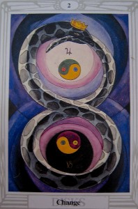 I pull this card a lot... It's always deeply meaningful... From the Thoth Tarot Deck, the 2 of Disks.