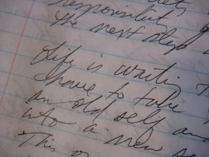 Once my intent to channel was set, I let it unfold...this is what I received from intent meeting me in return... -photo of handwritten channeling by Jan Ketchel