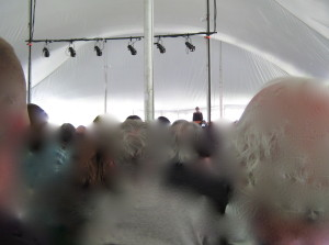 Do we need to be inside the tent? -Photo by Chuck Ketchel
