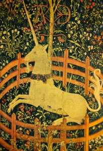 "This is called ""The Unicorn in Captivity,"" a detail from the seventh tapestry in the series, The Hunt for the Unicorn. I think we are all hunting for our own unicorn... -Photo by Jan Ketchel"