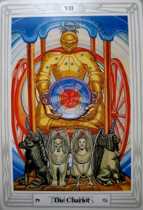 Here the charioteer is making choices that are nurturing, comforting, supportive and fortunate... - From the Thoth Tarot Deck