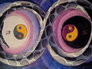 Yin & Yang; as within so without... - Detail from the Thoth Tarot Deck—2 of Disks—Change