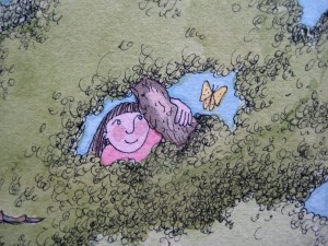 I even envisioned a future happy self! - Detail from a painting by Jan Ketchel, 1979